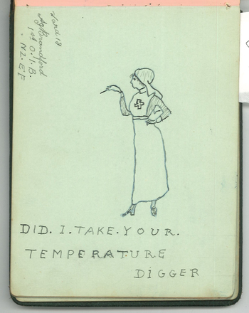"""""""Did I Take Your Temperature Digger"""" by A.J. Brandford. Swarbrick, Margaret. Miscellaneous papers, 1914 - 1947. Auckland War Memorial Museum Library. MS-1468. Image has no known copyright restrictions."""