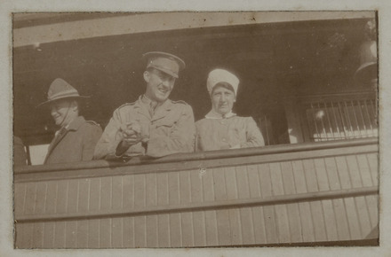 Unknown, photographer (ca.1917). Snapshot of Henry Alfred Millard (19215) and Alice Hayward (22/366 ) on board SS Port Lyttelton. Auckland War Memorial Museum - Tamaki Paenga Hira. PH-ALB-461-p20-2. Image has no known copyright restrictions.