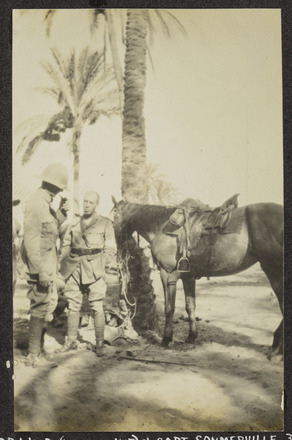Williams, Edward Gordon, photographer (1914-1918). Dr. Wood (without hat) & Capt. Sommerville 30.7.16. W. was killed at Katia Aug 5th 1916. [Williams Album 2]. Auckland War Memorial Museum - Tamaki Paenga Hira. PH-ALB-211-p5-2. Image has no known copyright restrictions.
