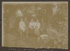 Unknown, photographer (1916). Susanne, [Angus Gordon Macdonald] Marcel, Elisabeth, Dr Mathieson, Picardy. At Chateau 'Poultieres', Somme. 1916. Auckland War Memorial Museum - Tāmaki Paenga Hira, A. G. Macdonald Album 2 PH-ALB-546-p18-2. Image has no known copyright restrictions.
