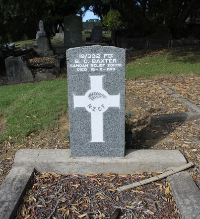 Pte Benjamin Charles Baxter (19/392), Purewa Cemetery. Image kindly provided by Hugh Grenfell (April 2016). Image has no known copyright restrictions.