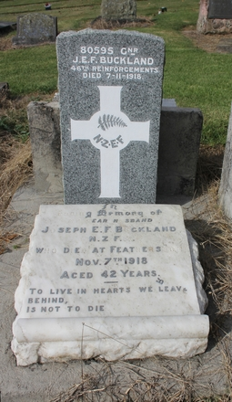 Gnr Joseph Edward Faulder  Buckland (80595), Purewa Cemetery. Image kindly provided by Hugh Grenfell (April 2016). Image has no known copyright restrictions.