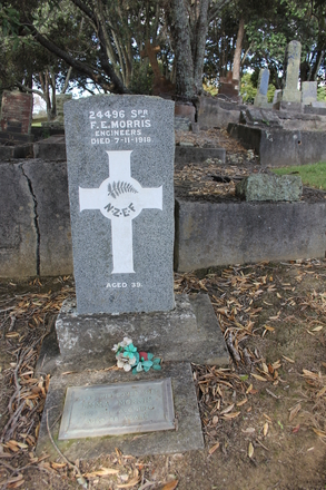 Spr Frederick Ernest Morris (24496), Purewa Cemetery. Image kindly provided by Hugh Grenfell (April 2016). © Auckland Museum CC BY.
