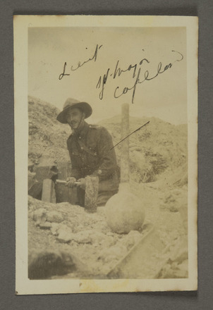 Royden Copeland in dug out at Fricourt. Auckland War Memorial Museum - Tāmaki Paenga Hira. PH-ALB-195 [James Hardie Neil album] PH-ALB-195-p15-9. Image has no known copyright restriction.