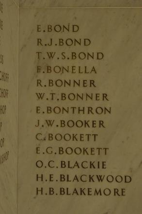 Auckland War Memorial Museum, World War 1 Hall of Memories Panel Bond E. - Blakemore H.B.  (photo J Halpin 2010)