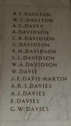 Auckland War Memorial Museum, World War 1 Hall of Memories Panel Daulton R.F. - Davies G.W. (photo J Halpin 2010)