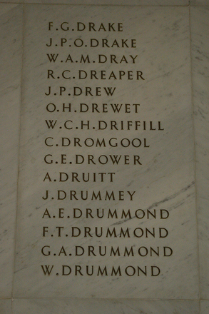 Auckland War Memorial Museum, World War 1 Hall of Memories Panel Drake F.G. - Drummond W.  (photo J Halpin 2010)