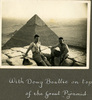 """""""With Doug Beattie on top of the Great Pyramid"""", Photo Album in Egypt of 638 Charles Honori Parks. Image kindly provided by Parks family. Image has no known copyright restrictions."""