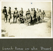 """Group of men eating a meal outdoors, """"Lunch-time in the Desert"""", Photo Album in Egypt of 638 Charles Honori Parks. Image kindly provided by Parks family. Image has no known copyright restrictions."""