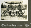 """Two men in swimming attire pose under shade of an umbrella, """"Max Sunley and """"Me"""", Photo Album in Egypt of 638 Charles Honori Parks. Image kindly provided by Parks family. Image has no known copyright restrictions."""