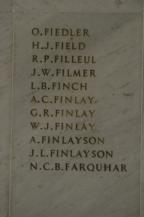 Auckland War Memorial Museum, World War 1 Hall of Memories Panel Fielder, O. - Farquhar, N.C.B. (CC BY John Halpin 2010)