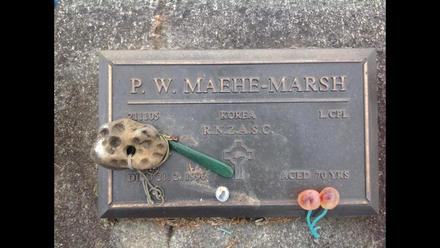 Gravesite of P.W. Maehe-Marsh (211105). Image provided. (December 2016). Image may be subject to copyright.