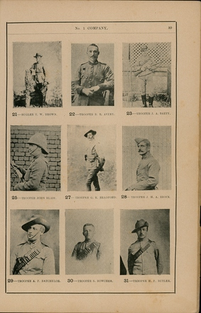 Portraits of South African War service personnel. St Clair Inglis, A. (c1902). Souvenir Album of the first New Zealand Contingent South African War. Auckland, N.Z.: Arthur Cleave & Co.p. 39. Image has no known copyright restrictions.