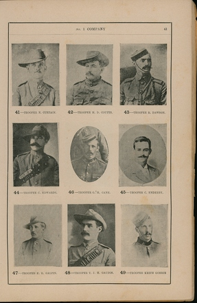 Portraits of South African War service personnel. St Clair Inglis, A. (c1902). Souvenir Album of the first New Zealand Contingent South African War. Auckland, N.Z.: Arthur Cleave & Co.p. 41. Image has no known copyright restrictions.