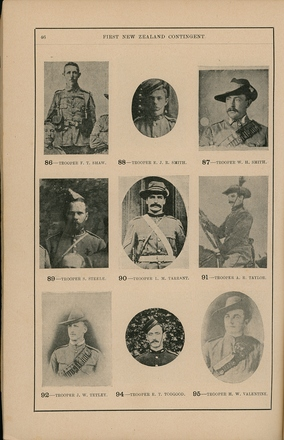 Portraits of South African War service personnel. St Clair Inglis, A. (c1902). Souvenir Album of the first New Zealand Contingent South African War. Auckland, N.Z.: Arthur Cleave & Co.p. 46. Image has no known copyright restrictions.