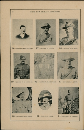 Portraits of South African War service personnel. St Clair Inglis, A. (c1902). Souvenir Album of the first New Zealand Contingent South African War. Auckland, N.Z.: Arthur Cleave & Co.p. 58. Image has no known copyright restrictions.