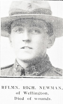 Rifelman Richard Newman of Wellington. Died of Wounds. 'Auckland Weekly News' 22 August 1918. Sir George Grey Special Collections, Auckland Libraries, AWNS-19180822-41-40
