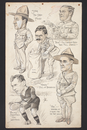 "Caricatures by Percy Gower Reid. ""Stan the dope fiend', ""Bob"" the canteen king - two full dooks"", ""Harry"" full of Business"", ""Bilkey snatches the leather"", ""Pat""- working up a blast for the ""Nat Goulds"". Includes caricatures of Robert Bilkey and Harry Denton. Also includes reference to author Nat Gould. Auckland War Memorial Museum - Tāmaki Paenga Hira PD-1969-4-3-001. Image has no known copyright restrictions."