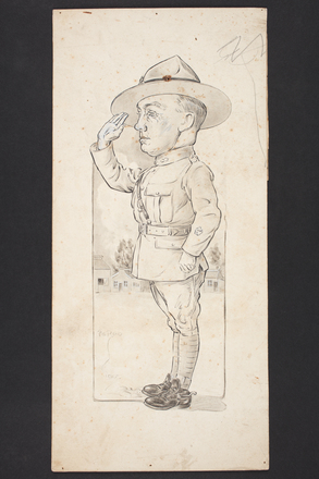 "Caricature of ""Jimmy the Dunk"" (B.S.M. J. Duncan) by Percy Gower Reid. Published in Reid, P.G. (1919). Dial sights : sketches of the N.Z.F.A. / by an artillery digger. Published by New Zealand War Records for the N.Z.F.A., London. Auckland War Memorial Museum - Tāmaki Paenga Hira PD-1969-4-5-001. Image has no known copyright restrictions."