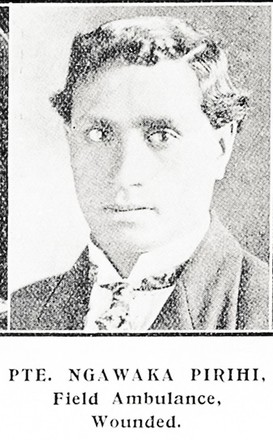 Private Ngawaka Pirihi, Field Ambulance, wounded. Taken from the supplement to the Auckland Weekly News 22 July 1915 p041. Sir George Grey Special Collections, Auckland Libraries, AWNS-19150722-41-21. No known Copyright.