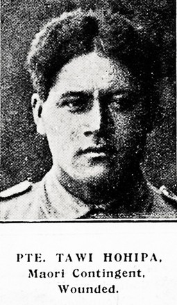 Private Tawi Hohipa, Maori Contingent, wounded. Taken from the supplement to the Auckland Weekly News 2 September 1915 p039.   Sir George Grey Special Collections, Auckland Libraries, AWNS-19150902-39-37. No known Copyright.