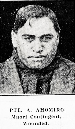 Private A. Ahomiro, Maori Contigent. Wounded. Taken from the supplement to the Auckland Weekly News 2 September 1915 p039. Sir George Grey Special Collections, Auckland Libraries, AWNS-19150902-39-35. No known Copyright.