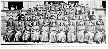 Ministering angels in time of suffering: the New Zealand nurses who will tend our wounded heroes on the hospital ship Maheno and at the base hospitals. Taken from the supplement to the Auckland Weekly News 15 July 1915 p047. Sir George Grey Special Collections, Auckland Libraries, AWNS-19150715-47-3. No known copyright. Photo taken on the Parliamentary Library steps of the third contingent of 69 passenger nurses and 13 NZHS Maheno Nurses led by Matron Evelyn Brooke seated centre front row. Nurses identified are: 1st Row: --,--,--, H. Burton, L. Brandon, E. Brooke, L. McNie, I. Willis, M. Muir, --,--. 2nd row, M. Looney, --, M. Rogers*, M. Brown* M. Jeffrey, J. Erwin, --, R. (D?) Horton, --,--, I. Clark*,--, 3rd row, A. Whitta, 7th M. Ellis, 8th J. James, --, A. Philpotts. 4th row, Right end M. Beswick (V neck white blouse), C. Hawkins, to right of nurse with large white collar. 5th row Edmondstone behind C. Hawkin's left shoulder. Nurses lost when the Marquette was torpedoed are noted with an aterisk and otehrs not identified but part of this contingent are, N. M. Hildyard, H. Isdell, M. Jamieson, M. Rae and L. Rattray. Nurses identified by S. McNabb.