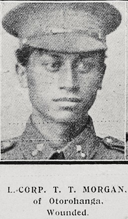 L Corp T T Morgan of Otorohanga, wounded. Taken from the supplement to the Auckland Weekly News 11 October 1917 p041. Sir George Grey Special Collections, Auckland Libraries, AWNS-19171011-41-47. No known Copyright.