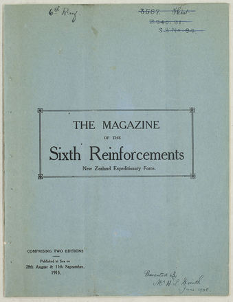 "HMNZT 27. The magazine of the Sixth Reinforcements New Zealand Expeditionary Force. (1915). At sea: Magazine Committee, Sixth Reinforcements; printed at the ""Dominion"" Office, Wellington, NZ."