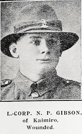 L Corp N P Gibson of Kaimiro, wounded. Taken from the supplement to the Auckland Weekly News 12 April 1917 p045. Sir George Grey Special Collections, Auckland Libraries, AWNS-19170412-45-9. Image has no known copyright restrictions.