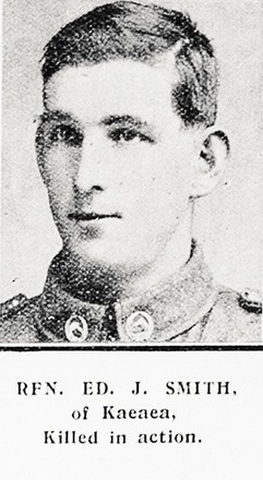 Portrait of Rifleman Edward John Smith 26702 of Kaeaea. Auckland Weekly News 29 Mrach 1917. Sir George Grey Special Collections, Auckland Libraries, AWNS-19170329-45-15