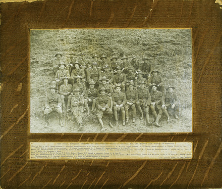 Photograph of the Otago Battalion Officers on the Western Front in France, May 1917, before the battle of Messines. Unknown provenance. Auckland War Memorial Museum - Tāmaki Paenga Hira PH-PR-179. Image has no known copyright restrictions.
