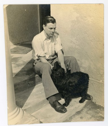 Photograph of Pilot Officer Arthur Hugh Moncrief Wright 41643 (With dog). Image kindly provided by the Wright family (June 2017). Image may be subject to copyright restrictions.