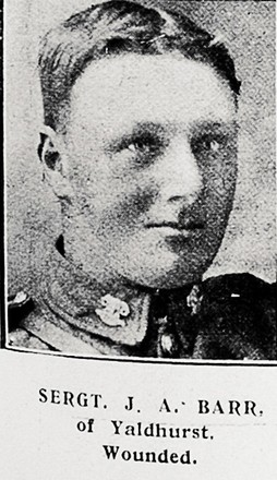 Portrait of Sergeant J.A. Barr, of Yaldhurst, Wounded. Auckland Weekly News 7 June 1917. Sir George Grey Special Collections, Auckland Libraries, AWNS-19170607-41-41