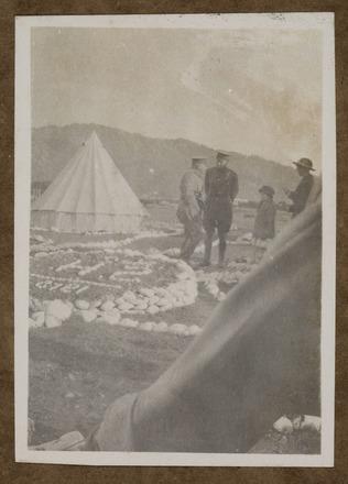 """Unknown, photographer, """"Maj. Maguire, Capt. Bowerbank, Trentham"""" (1915) in Colin M. Gordon album (1915-1918). Auckland War Memorial Museum - Tāmaki Paenga Hira  PH-ALB-376-p1-3."""