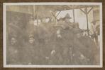 "Unknown, photographer, ""Cumming, Horrobin, Hantler, Barton, F.O.C, McKenzie, Holmes, Baker, Keily, Haggit, Departure of Reinfts. To Salonica, 15/11/1915""  in Colin M. Gordon album (1915-1918). Auckland War Memorial Museum - Tāmaki Paenga Hira  PH-ALB-376-p19-2."