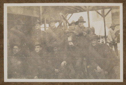 "Unknown, photographer, ""Cumming, Horrobin, Hantler, Barton, F.O.C, McKenzie, Holmes, Baker, Keily, Haggit, Departure of Reinfts. To Salonica, 15/11/1915""  in Colin M. Gordon album (1915-1918). Auckland War Memorial Museum - Tāmaki Paenga Hira  PH-ALB-376-p19-2."