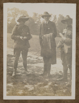 "Unknown, photographer, ""Steve, Slab (Chapple Gill-Carey), Ted""  in Colin M. Gordon album (1915-1918). Auckland War Memorial Museum - Tāmaki Paenga Hira  PH-ALB-376-p45-4."