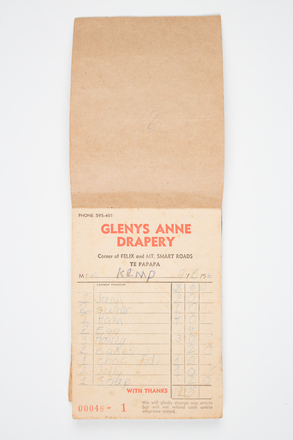 book, receipt, 1999.155.45, Photographed by Denise Baynham, digital, 07 Jul 2017, © Auckland Museum CC BY