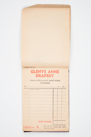 book, receipt, 1999.155.46, Photographed by Denise Baynham, digital, 07 Jul 2017, © Auckland Museum CC BY
