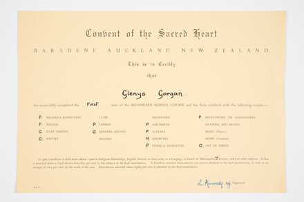 certificate, examination, 1999.155.110, Photographed by Denise Baynham, digital, 07 Jul 2017, © Auckland Museum CC BY