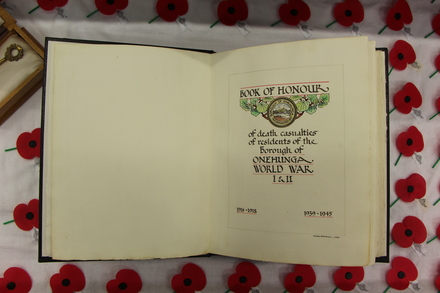 Onehunga Roll of Honour World War One and Two, Image provided by John Halpin 2014, CC BY John Halpin 2014