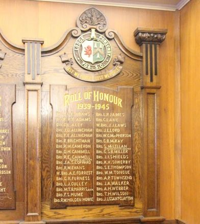 Ponsonby Lodge Onehunga Masonic Hall Roll of Honour, 1939-1945. Image provided by John Halpin 2014, CC BY John Halpin 2014