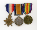 Medals of Sister Eileen Grace Hanan 22/121. Recto from left to right: 1914-1915 Star; British War Medal; Victory Medal. Image kindly provided by Stoney Burke (August 2017). Image has no known copyright restrictions.
