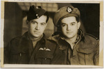 """Unknown, photographer [ca. 1944]. Portrait of brothers, Joseph (left) and Alan Moffatt (right) in military uniform.  Photograph is attached to photocopied page, handwritten above print """"Joe (left); Alan (right). My brother was killed at Immola [sic]... a long straigt road. (taken late 1944?)""""  Auckland War Memorial Museum - Tāmaki Paenga Hira - Rangi Mawhete Collection - PH-1996-1-25-001. Cultural permissions apply."""