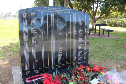 Niue Island World War One Roll of Honour, next to Mount Roskill War Memorial 13 May Road, Auckland. Image kindly provided by John Halpin 2017, CC BY John Halpin
