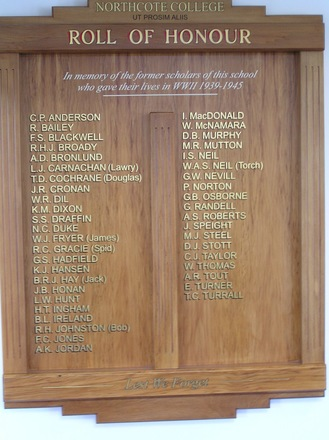 Northcote College Roll of Honour 1939-1945. Northcote College, 1 Kauri Glen Rd, Northcote, Auckland 0627. Image kindly provided by Geoff Parry 2013, CC BY Geoff Parry 2013