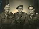 Group Photograph (left to right) of Captain Philippe Charles Marsack (RNZAF then Army), Lieutenant Colonel Charles Croft Marsack 24/657/38625 and Captain Raymond Olivier Marsack NZ402264 (RNZAF then Army), c.1939-1945. Image kindly provided by Laurette Powell (September 2017). Image may be subject to copyright restriction. It appears that the brothers first served in the RNZAF then transferred to the New Zealand Army and became commissioned officers. The ribbons and insignia on their uniforms show that both were Captains and that the photograph was probably taken after the Second World War.