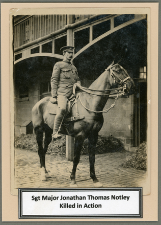 Photograph of Warrant Officer Jonathan Thomas Notley on horseback 13/128. Image kindly provided by Elizabeth McNee (September 2017). Image has no known copyright restrictions.