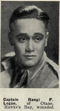 Captain Rangi F. Logan, of Otane, Hawke's Bay, wounded.  Auckland Weekly News 7 October 1942. Sir George Grey Special Collections, Auckland Libraries, AWNS-19421007-18-6. Image has no known copyright restrictions.